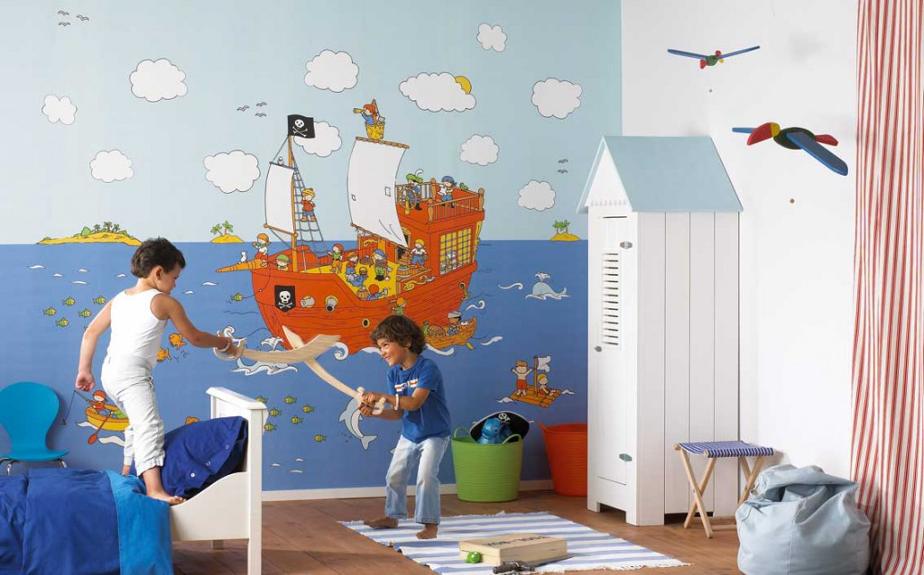Фотообои в детской для мальчиков в пиратском стиле