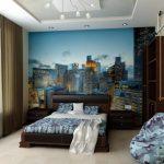 Фото 46: Фотообои с городом в комнате подростка