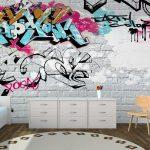 Фото 47: Фотообои с граффити в комнате подростка