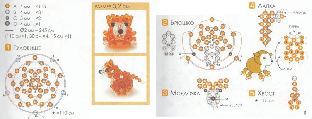 Схема собачки из бисера