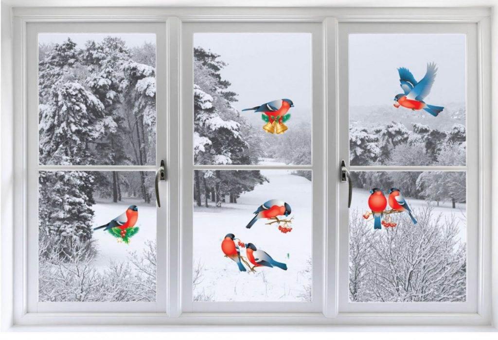 Разноцветные рисунки на окна