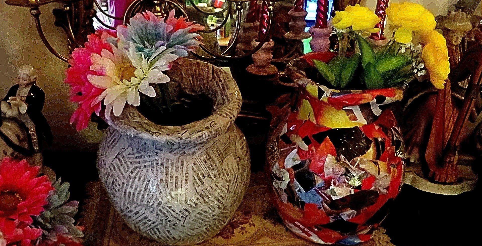 Оригинальный декор вазы своими руками из бумаги