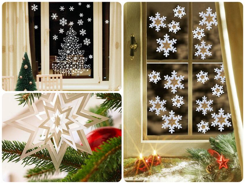 Бумажные снежинки на окнах