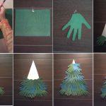 Фото 34: Аппликация елочки из бумажных детских ладошек