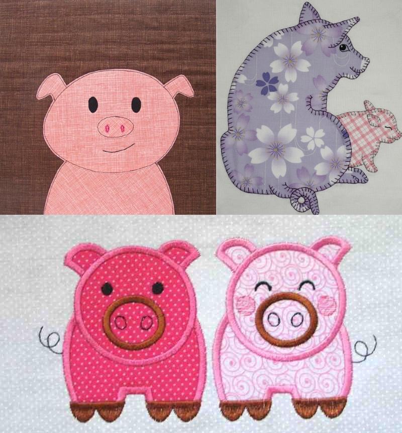 Аппликация из кусочков ткани в виде свинок