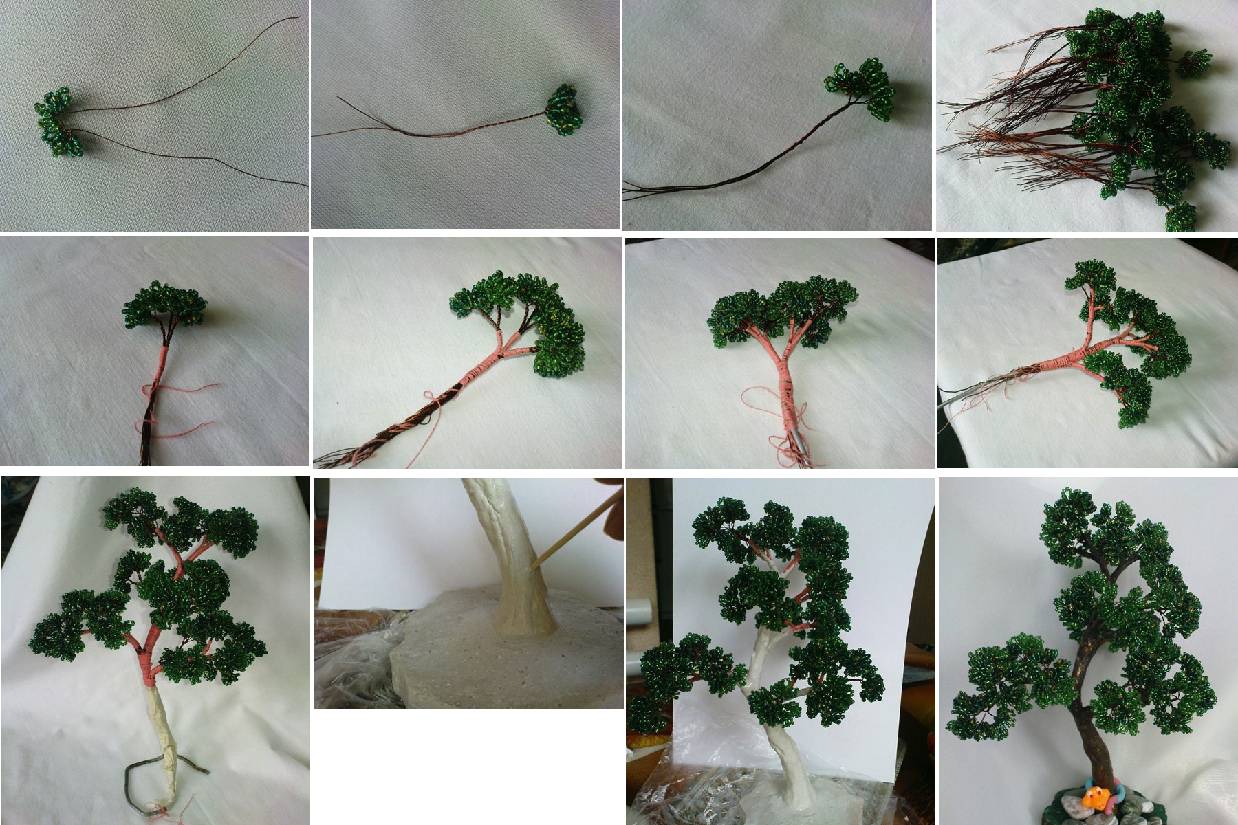 Как сделать из бисера дерево и их схема