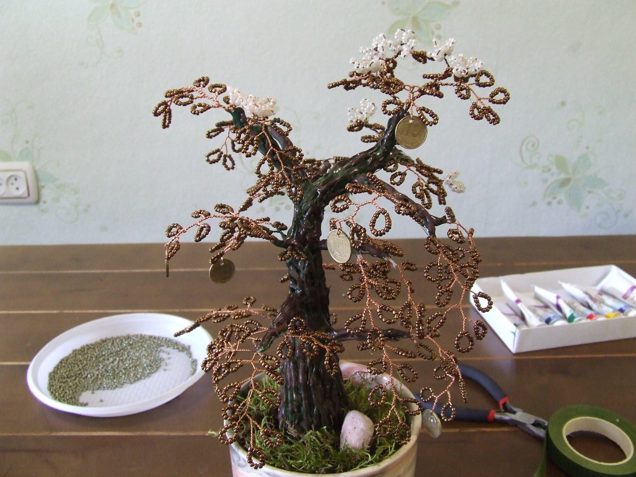 Денежное дерево из бисера с монетками