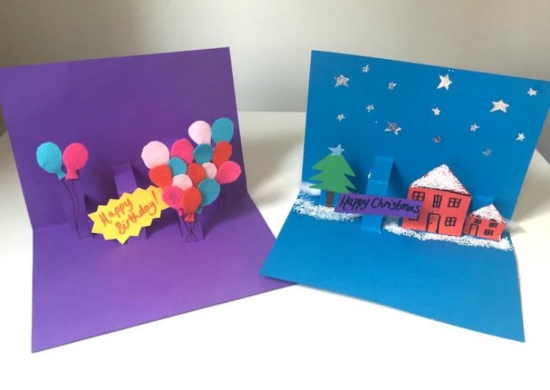 Объемные открытки из цветной бумаги 13