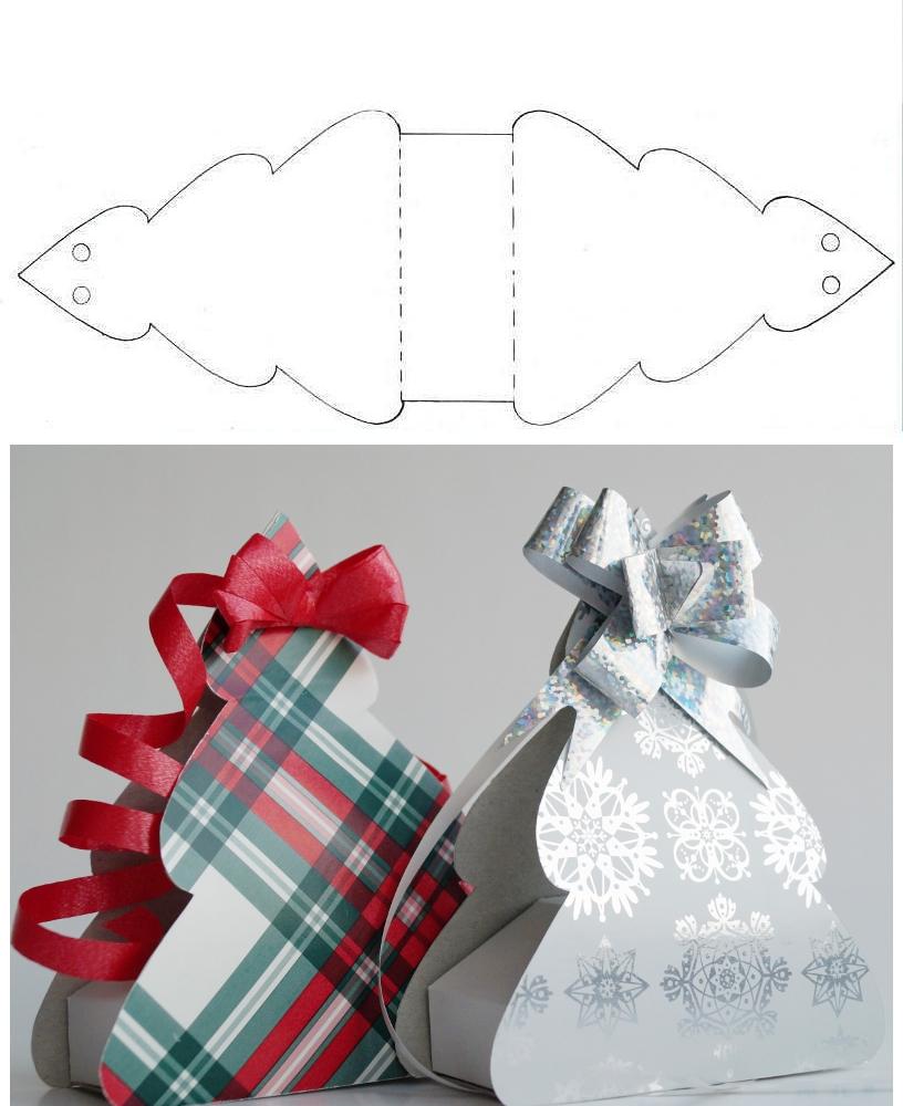 Выкройка новогодней упаковки в виде елочки из бумаги