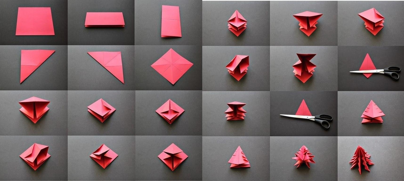 Изготовление елочки в технике оригами из бумаги
