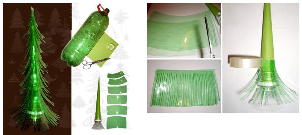 Изготовление елочки с бахромой из пластиковой бутылки