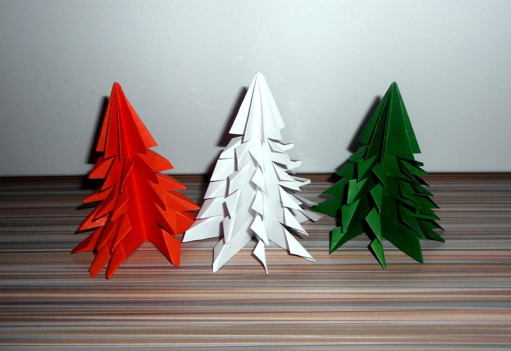 Новогодние бумажные елочки из бумаги
