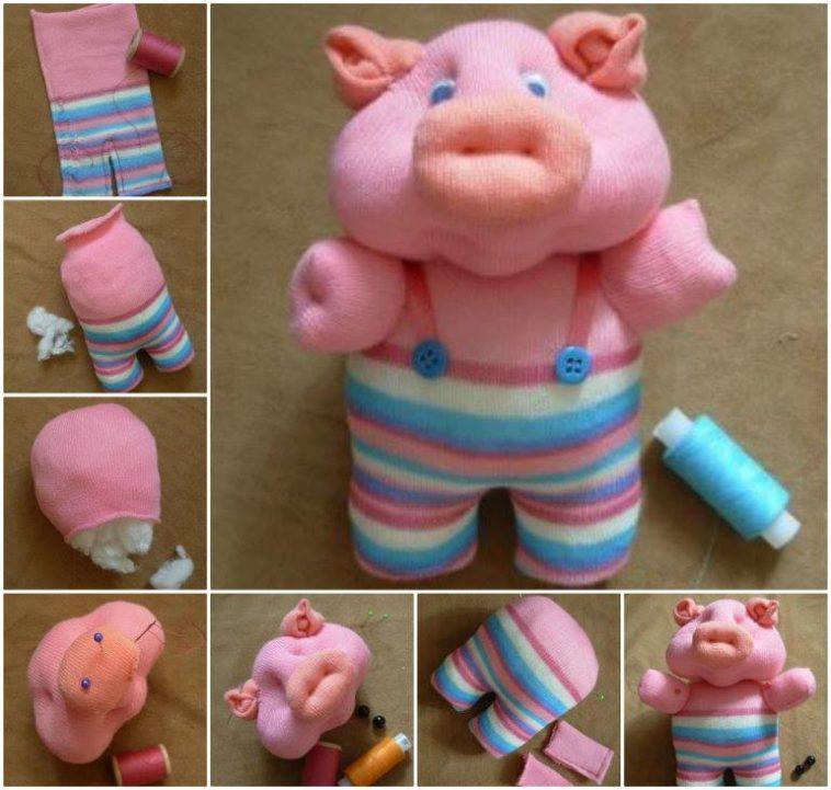 Изготовление свинки из носка