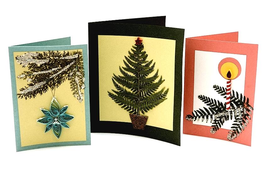 Новогодние открытки с гербарием папоротника