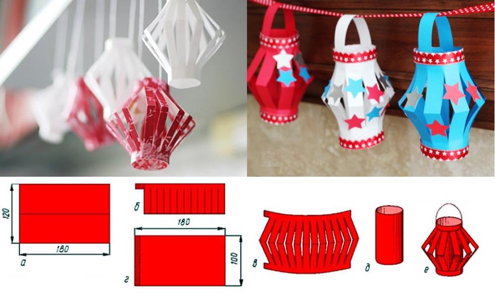 Изготовление новогодних фонариков из цветной бумаги