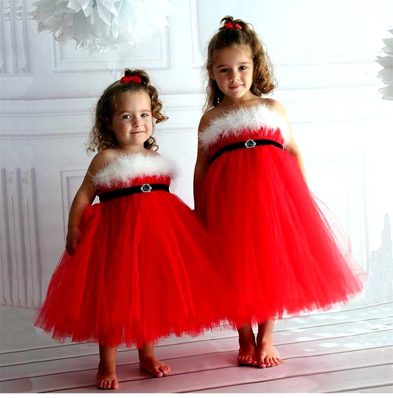 Красные новогодние платья для девочек