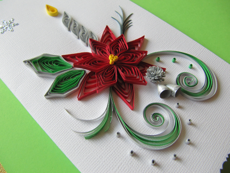 Новогодняя открытка в технике квиллинг