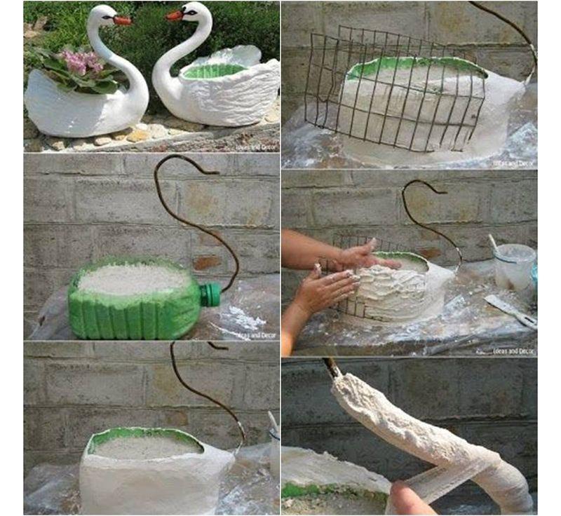 Поэтапное изготовление кашпо в виде лебедя