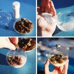 Фото 31: Украшение прозрачной елочной игрушки маленькими шишками и белыми блестками