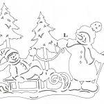 Фото 51: Трафарет с елочками и снеговиками