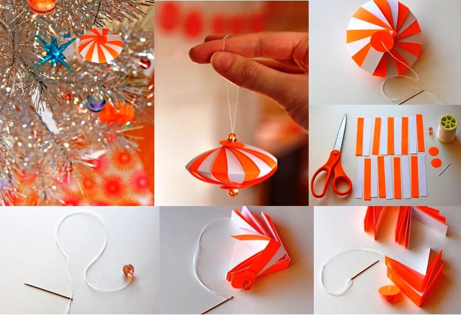 Поэтапное создание бумажной новогодней игрушки