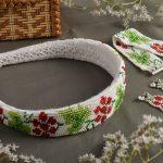 Фото 59: Ободок, браслет и сережки из бисера с узором