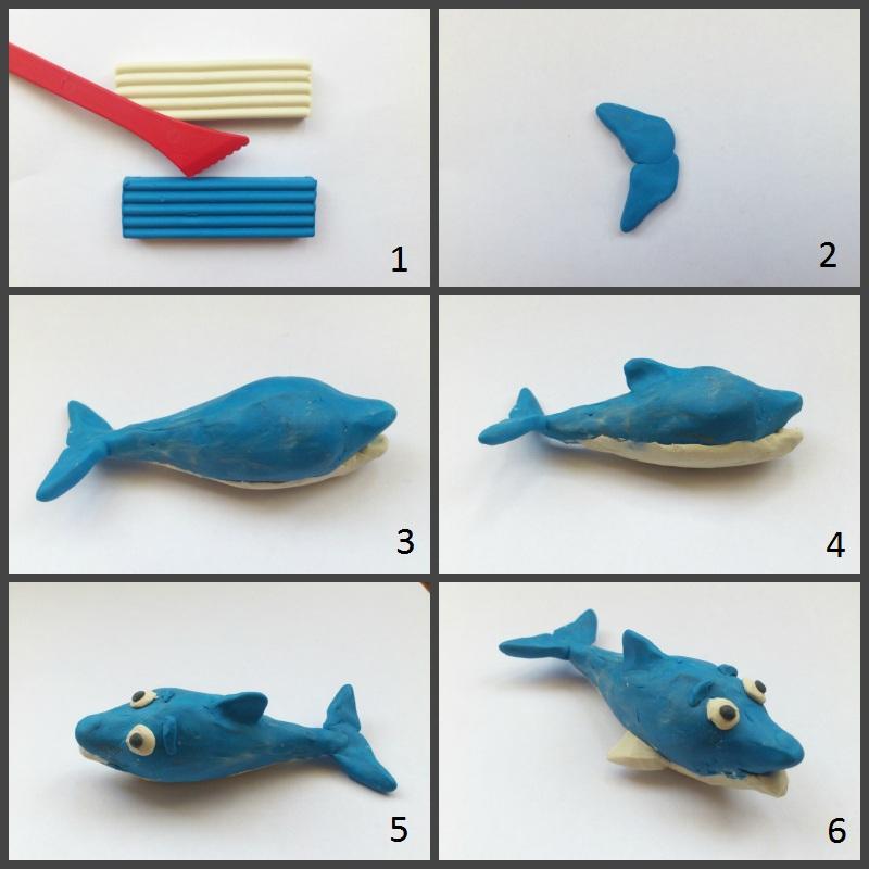 Поэтапное изготовление дельфина из пластилина