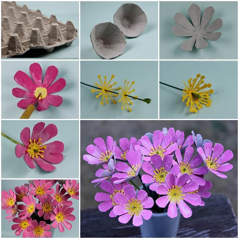 Лоток из-под яиц для изготовления букета цветов
