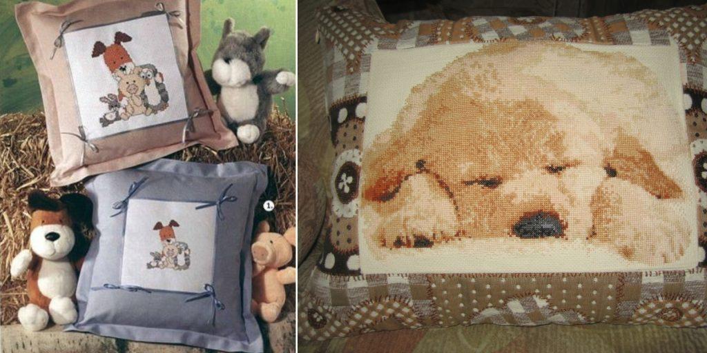 Подушка с вышивкой в виде собачки