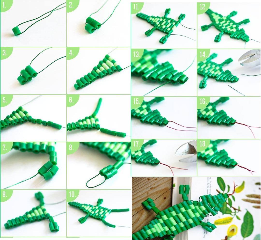 Поэтапное изготовление крокодила из бисера