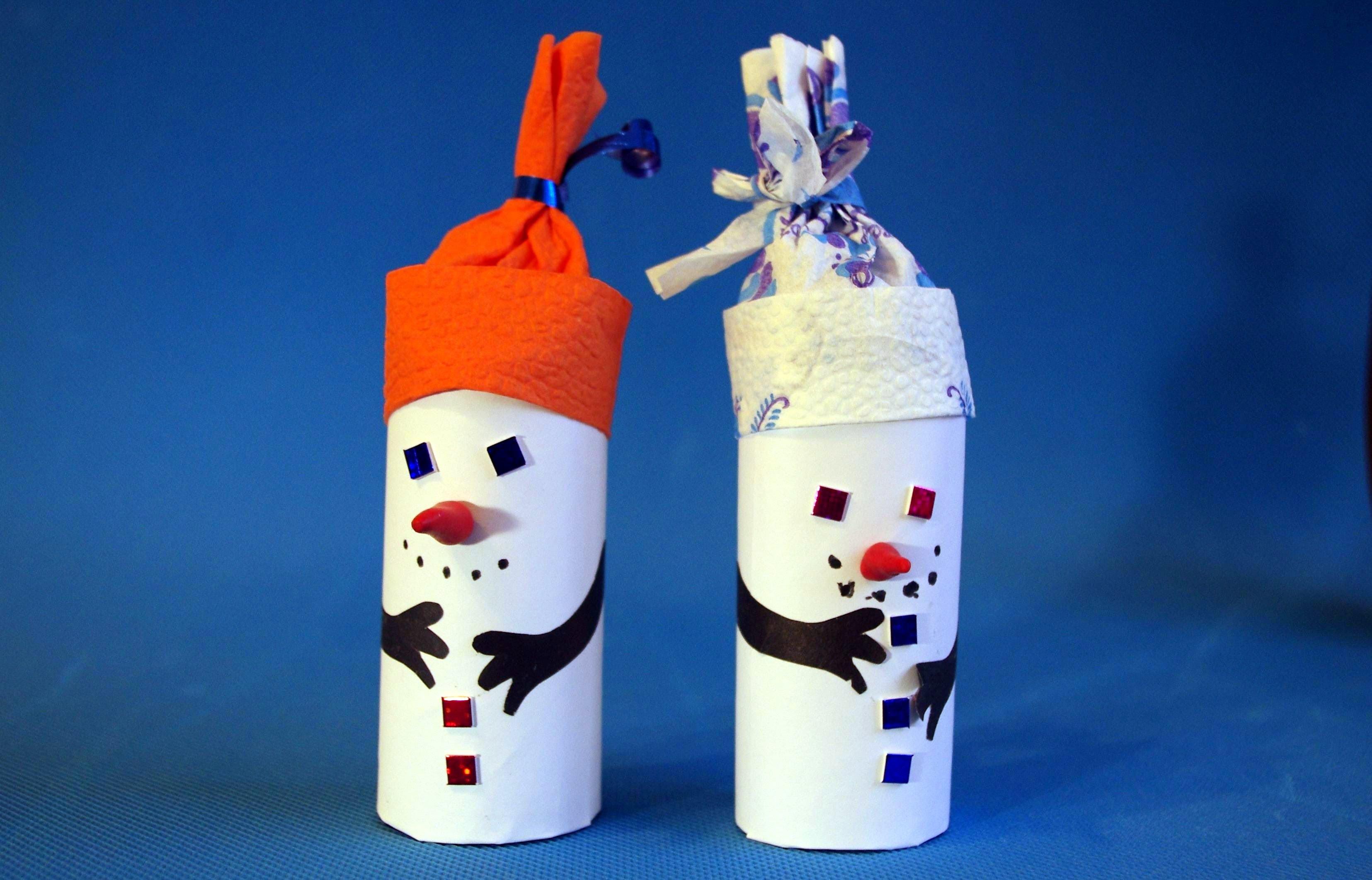 Простые поделки снеговики из бумаги
