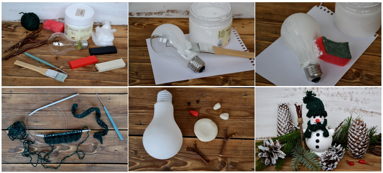 Изготовление снеговика из лампочек своими руками