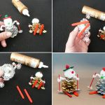 Фото 46: Поделка снеговик из шишек и помпончиков
