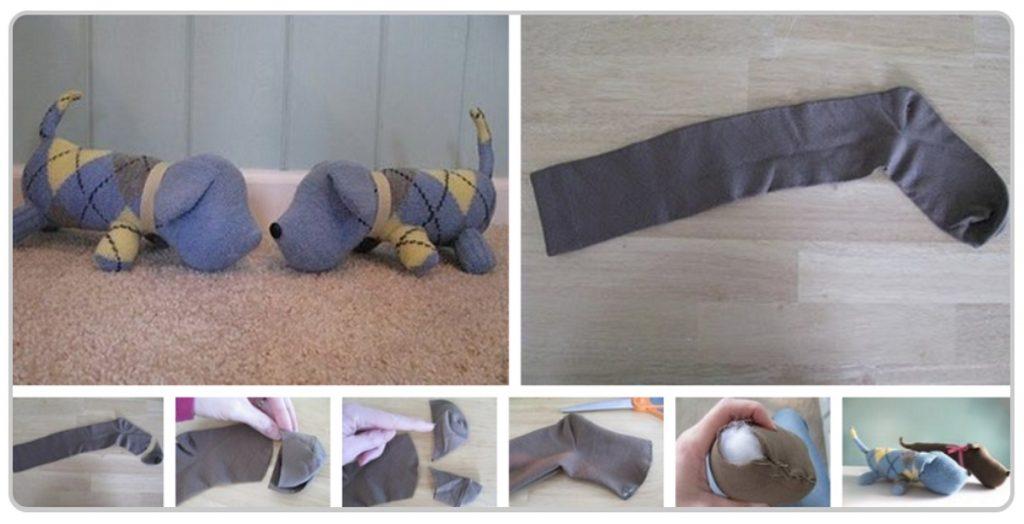 Изготовление собачки из носков