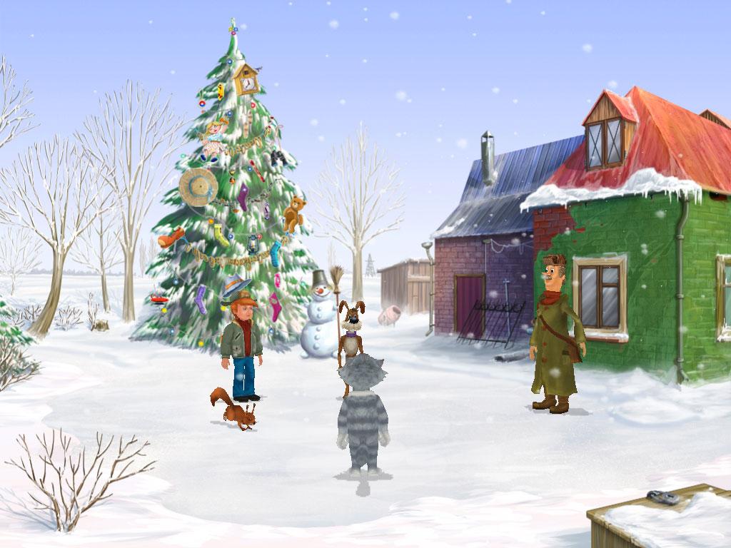Украшение елки в мультфильме Простаквашино