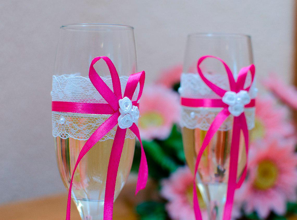 Свадебное оформление бокалов своими руками