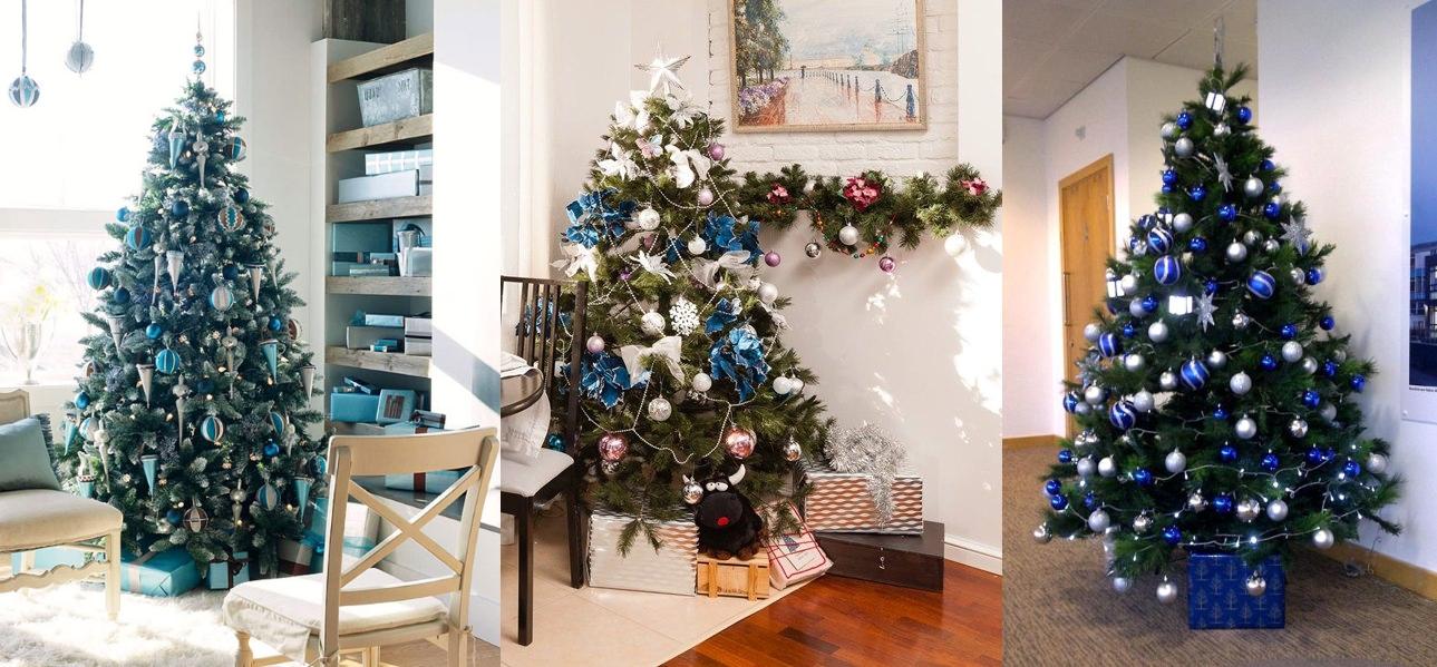 Оформление елки в синих и голубых тонах