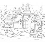 Фото 69: Шаблон зимнего пейзажа с домом