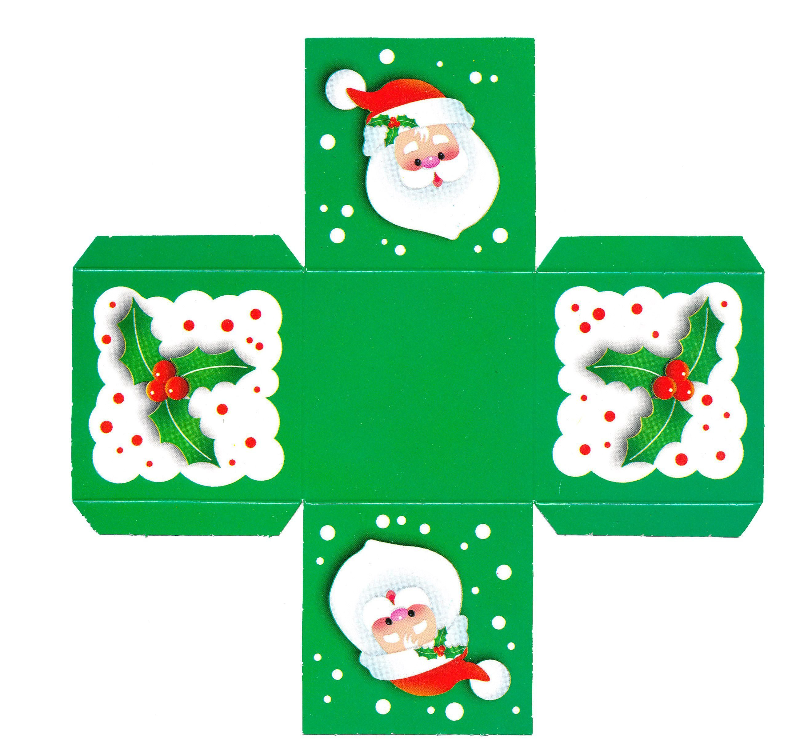 Выкройка для распечатки новогодней коробочки из бумаги
