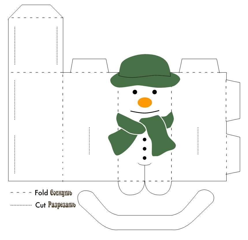 Выкройка бумажной поделки снеговика своими руками