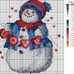 Фото 50: Схема вышивки снеговика