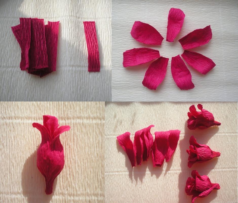 Цветы из гофрированной бумаги своими руками пошагово фото 29