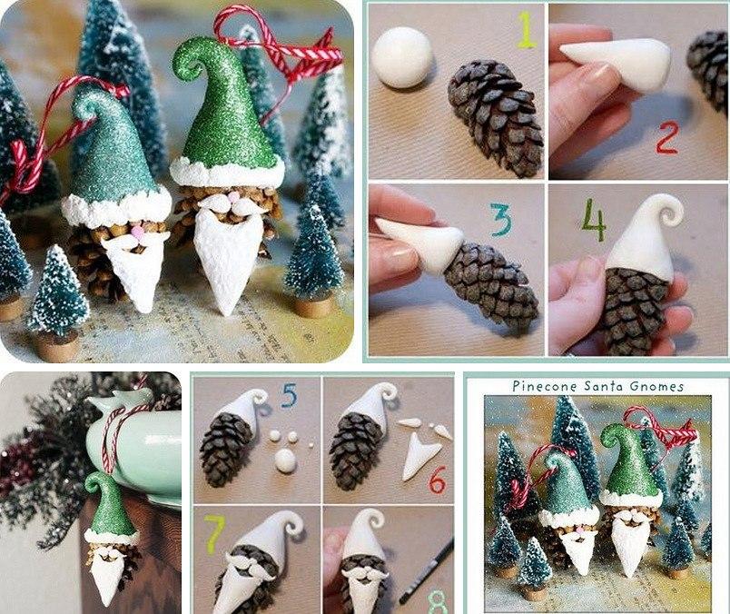 Изготовление Деда Мороза из шишек
