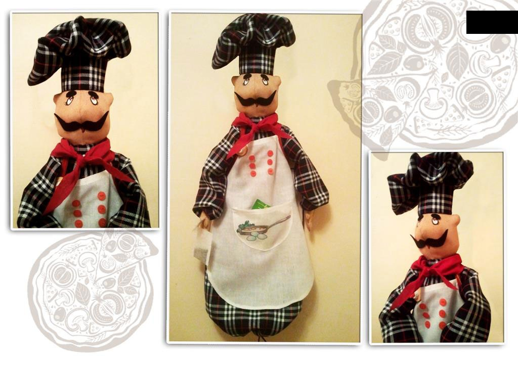 На кухне прекрасно будет выглядеть кукла-пакетница в виде повара