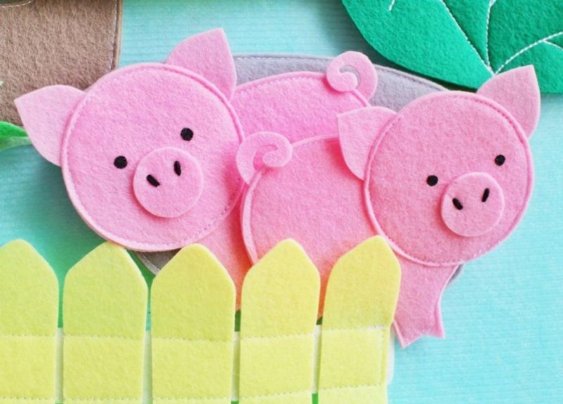 Свинки из фетра для аппликации