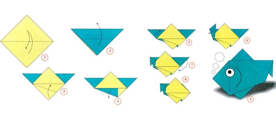 Схема изготовления рыбки из оригами