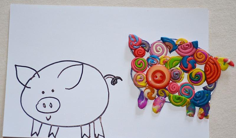 Свинка из пуговиц и пластилина