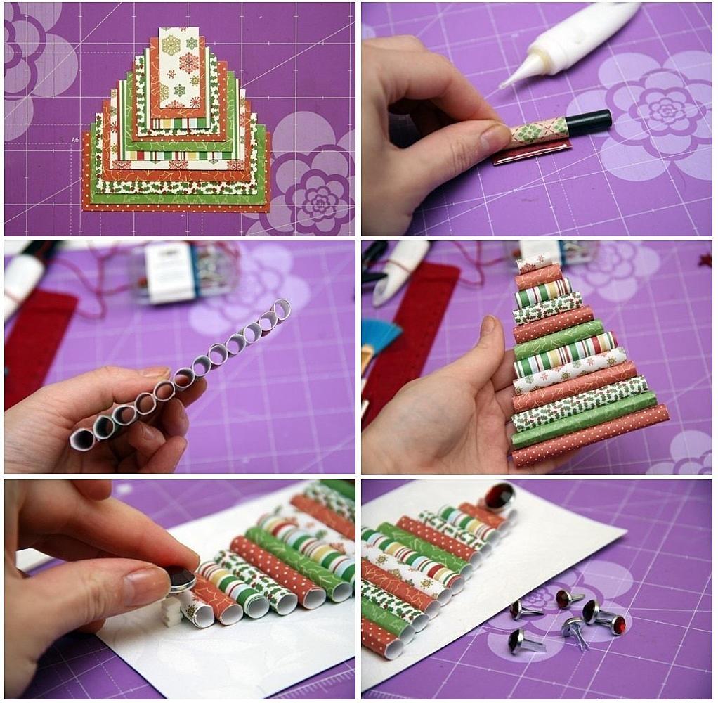 Изготовление елочки из бумажных трубочек для открытки