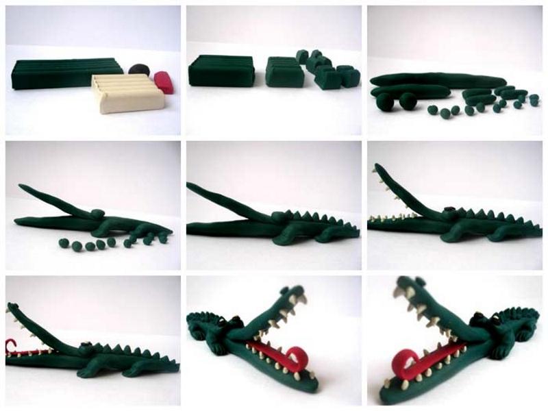 Как сделать крокодила из пластилина пошагово с фото