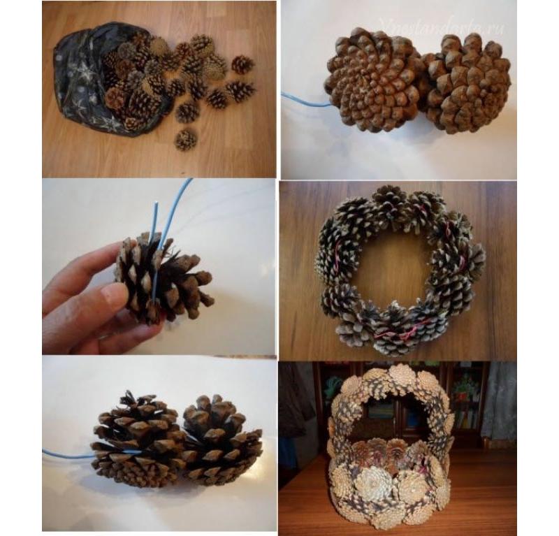 Изготовление корзинки из шишек